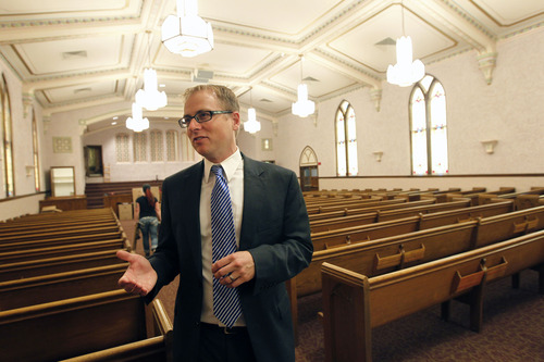 Al Hartmann     The Salt Lake Tribune Utah legislator Jeremy Peterson, R-Ogden, is glad to see the restoration of old buidlings like this old LDS Church at 2115 Jefferson Ave. in Ogden. It first opened in 1937. He thinks a renaissance of older buildings and neighborhoods in Ogden is underway.