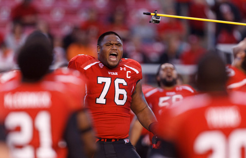 Trent Nelson  |  The Salt Lake Tribune Utah Utes offensive linesman Jeremiah Tofaeono (76) gets the team fired up before the game as the University of Utah hosts Oregon State, college football at Rice Eccles Stadium Saturday, September 14, 2013 in Salt Lake City.