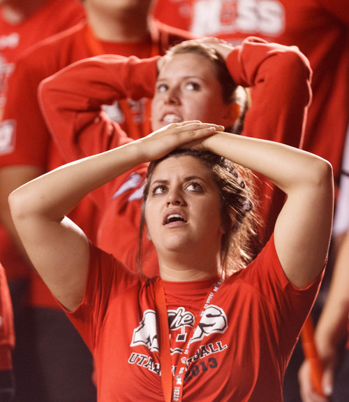 Trent Nelson  |  The Salt Lake Tribune Utah fans react to a long Oregon pass that put the ball on the 7 yard line and led to a touchdown as the University of Utah hosts Oregon State, college football at Rice Eccles Stadium Saturday, September 14, 2013 in Salt Lake City.