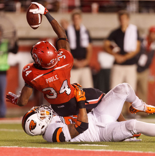 Trent Nelson  |  The Salt Lake Tribune Utah Utes running back James Poole (34) appears to put the ball over the line for a touchdown, but he was ruled down as the University of Utah hosts Oregon State, college football at Rice Eccles Stadium Saturday, September 14, 2013 in Salt Lake City.