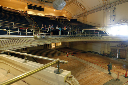 Al Hartmann  |  The Salt Lake Tribune People tour the old Capitol Theatre's renovations after the groundbreaking and christening of the Jessie Eccles Quinney Center for Dance and renovation of the Janet Quinney Lawson Capitol Theatre at 50 West 200 South in Salt Lake City Monday September 16.