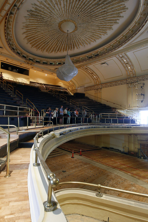 Al Hartmann  |  The Salt Lake Tribune People tour the old Capitol Theater's renovations after the groundbreaking and christening of the Jessie Eccles Quinney Center for Dance and renovation of the Janet Quinney Lawson Capitol Theatre at 50 West 200 South in Salt Lake City Monday September 16.