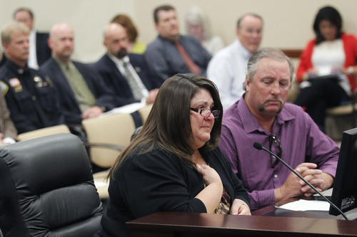 Al Hartmann  |  The Salt Lake Tribune Shauna Denos with husband Robert testifies Monday September 16 to the Prison Relocation Authority Committee.   They have a son at the Utah State Prison in Draper.  Their family has visited him in prison 91 times so far this year and worry what a long commute would do to their ability to visit him and offer support during his incarceration. . She was also worried about the loss of programs and volunteer workers if the prison moves to the west desert.