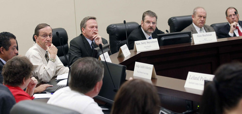 Al Hartmann  |  The Salt Lake Tribune The Prison Relocation Authority Committee listens to comments at the state capitol Monday September 16 from corrections officers and family members of inmates on how moving the prison from Draper to the west desert would affect them.
