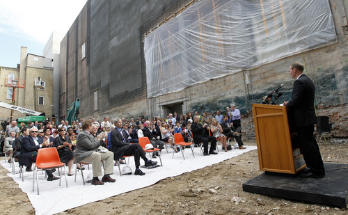 Al Hartmann  |  The Salt Lake Tribune Salt Lake County Mayor Ben McAdams welcomes art and ballet benefactors  in the 12 foot excavated hole in the ground for a groundbreaking and christening of the Jessie Eccles Quinney Center for Dance and renovation of the Janet Quinney Lawson Capitol Theatre at 50 West 200 South in Salt Lake City Monday September 16.