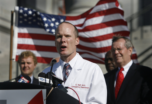 "Scott Sommerdorf   |  The Salt Lake Tribune Emergency room physician Christian Neff, M.D., spoke in support of the ""Count My Vote"" effort at a press conference held on the south steps of the State Capitol building, Wednesday, September 18, 2013. He is in favor of changing the current caucus system to allow for a system that would be more friendly to busy people like himself getting an opportunity to participate in the process."
