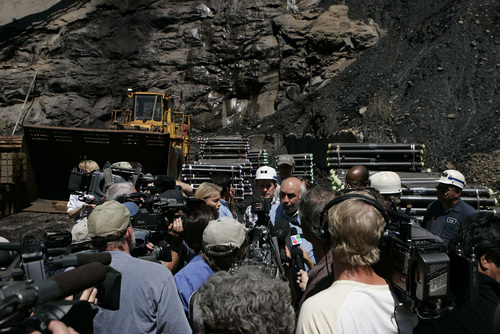 Trent Nelson  |  Tribune file photo  Robert Murray, president and CEO of Ohio-based Murray Energy Corp, leads reporters on a tour of the Crandall Canyon coal mine in August 2007 during efforts to rescue six trapped miners. Their bodies were never recovered.