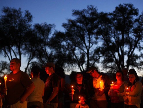 Huntington - Members of the community turned out Friday night for a candlelight vigil for the six trapped miners in the Crandall Canyon Mine.  Trent Nelson/The Salt Lake Tribune; 8.09.2007