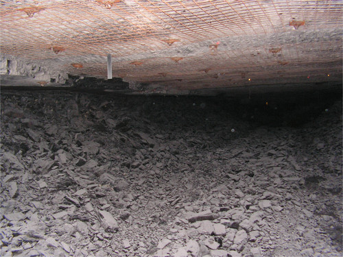 This photograph shows the damage that was done inside the Crandall Canyon mine in March when pressure on the mine roof caused coal to explode into passageways. No one was injured, but the company had to abandon mining in the area. The photo was taken by UtahAmerican Energy Inc. and provided to the federal Mine Safety and Health Administration.