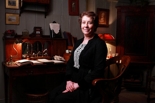 """This undated publicity photo released by Masterpiece shows Phyllis Logan as Mrs. Hughes in """"Downton Abbey,"""" series 3. The show is nominated for outstanding drama series at Sunday's 65th Primetime Emmy Awards. (AP Photo/Masterpiece, Gary Moyes/Carnival Films)"""