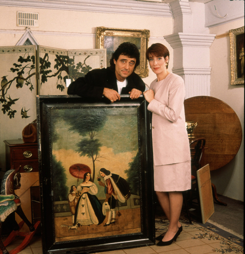 """This undated publicity photo released by BBC shows Ian McShane, left, and Phyllis Logan in """"Lovejoy."""" Before """"Downton Abbey,"""" perhaps Logan's best-known work was opposite McShane in the British TV series, 'Lovejoy."""" (AP Photo/BBC)"""