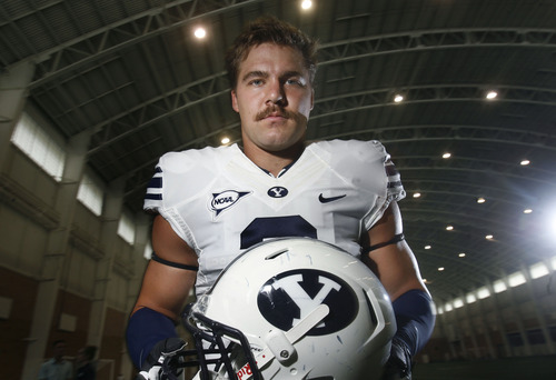 Scott Sommerdorf   |  The Salt Lake Tribune BYU LB Spencer Hadley at media day at their indoor facility in Provo, Thursday, August 8, 2013.