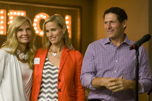 Rick Egan  |  The Salt Lake Tribune Former BYU and NFL quaterback Steve Young and his wife Barb Young, center, spoke Saturday at the Affirmation conference for LGBT Mormons. In this photo from June 28, 2013, they were joined by Sophie's mother, Anne Marie Barton at Sophie's place at Primary Children's Medical Center. Sophie's place is the first music therapy room built inside a hospital in the U.S and will include a recording studio, performance area, practice room and listening station.