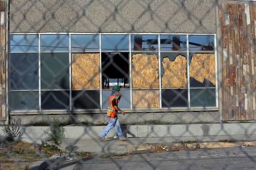 Francisco Kjolseth  |  The Salt Lake Tribune The old Granger High school in West Valley City begins to come down as crews start the process on Wednesday, Sept. 18, 2013. The demoIition is expected to take two weeks, not counting the haul-away.