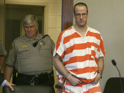 Jud Burkett    Pool The Spectrum & Daily News Paul Clifford Ashton, right, is led into the courtroom for his sentencing hearing in Fifth District Court Wednesday, Sep. 4, 2013 in St. George, Utah. Ashton was sentenced to life without parole for Brandie Jerden's 2010 murder and will serve the sentence concurrently with a federal sentence of life in prison for the murder of Bradley Eitner which he committed in October of 2010, two months prior to the murder of Jerden.