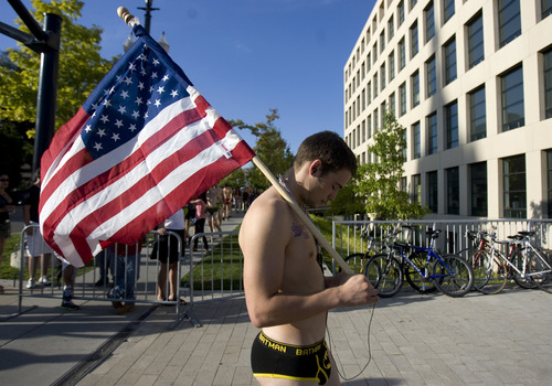 Kim Raff | The Salt Lake Tribune Coleman Riebe waits for the beginning of the 5k Utah Undie Run in Salt Lake City, Utah on September 9, 2012. Thousands of people gathered in hopes of breaking last years record of 2,270 people which was the largest gathering of people wearing only underpants.