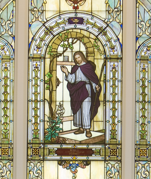 "Keith Johnson | The Salt Lake Tribune  A stained glass window in the chapel of the Yale Ward depicts Jesus Christ.  The phrase, ""I stand at the door and knock"" is inset into the window. The Window was donated by a family whose son died in 1926 at the age of 2. The Yale Ward, located at 1431 Gilmer Dr., in Salt Lake City, was originally  built in 1924. The ward is having an open house on Sept. 7 to show the new renovations."