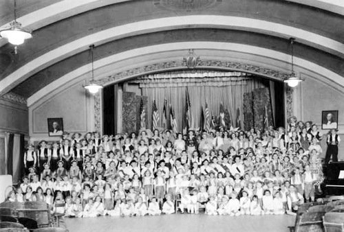 | Courtesy Utah State Historical Society Yale Ward children in a program in the cultural hall in 1934.