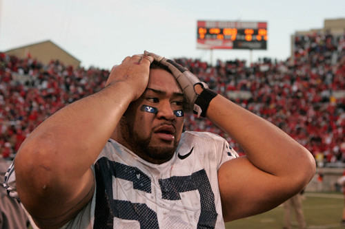 Trent Nelson     The Salt Lake Tribune BYU's Sete Aulai in disbelief after BYU's comeback win over Utah in 2006.