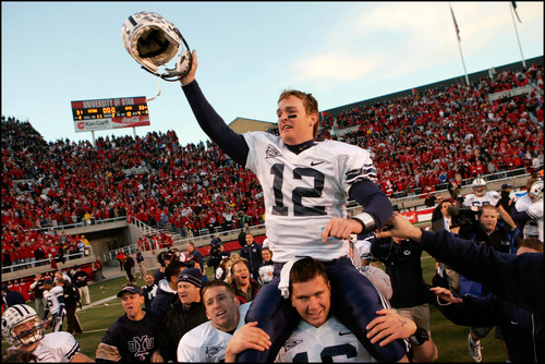 Trent Nelson     The Salt Lake Tribune BYU quarterback John Beck is carried off the field after the comeback win over Utah in 2006.