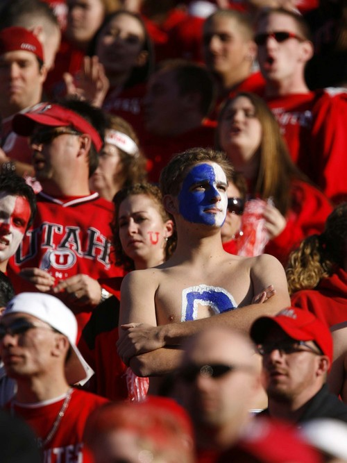 Trent Nelson     The Salt Lake Tribune A lone BYU fan in the Utah student fan section at Rice-Eccles Stadium, 2006.