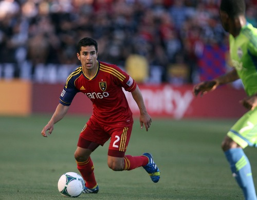 Kim Raff  |  The Salt Lake Tribune Real Salt Lake defender Tony Beltran (2) looks to pass the ball during the first half against the Seattle Sounders FC at Rio Tinto Stadium in Sandy on June 22, 2013. Real went on to win the game 2-0.