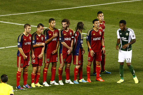 Chris Detrick  |  The Salt Lake Tribune Real Salt Lake players get ready for a penalty kick during the first half of the game at Rio Tinto Stadium Friday August 30, 2013.