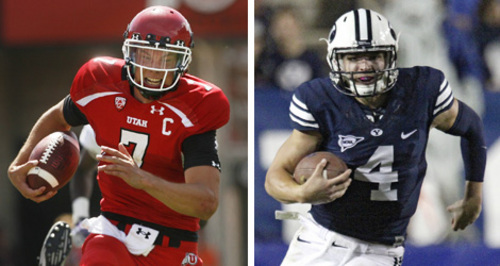 University of Utah quarterback Travis Wilson, left, will face off against Brigham Young University QB Taysom Hill on Saturday in Provo.