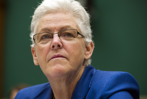 EPA administrator Gina McCarthy testifies before the House Subcommittee on Energy and Power on Capitol Hill, in Washington, Wednesday, Sept. 18, 2013. The energy panel meeting Wednesday comes just days before a deadline for the Environmental Protection Agency to release a revised proposal setting the first-ever limits on carbon dioxide from newly built power plants. (AP Photo/Cliff Owen)