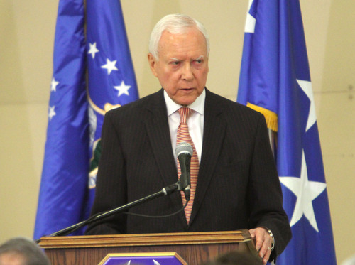 Rick Egan  | The Salt Lake Tribune   Senator Orrin Hatch speaks during the F-35A Joint Strike Fighter presentation, Friday, September 20, 2013. The F-35A is a multi-variant, multi-role 5th Generation Fighter, and will undergo organic depot modification work at Hill AFB.