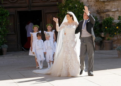 Prince Felix of Luxembourg and his wife Claire Lademacher after their church wedding in Saint-Maximin-La-Sainte-Baume, southern France, Saturday, Sept. 21,  2013. (AP Photo/Claude Paris)