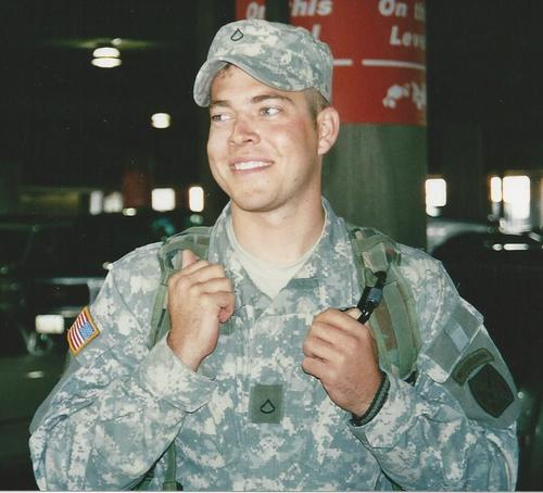 Courtesy Carlson Family James Steven Carlson, a 2004 graduate of Salt Lake County's Skyline High School, is pictured at the Salt Lake City Airport after returning from his first leave. An Army infantryman who was in on some of the Iraq War's most heated fighting, Carlson was found dead last weekend in a motel room in Murray.