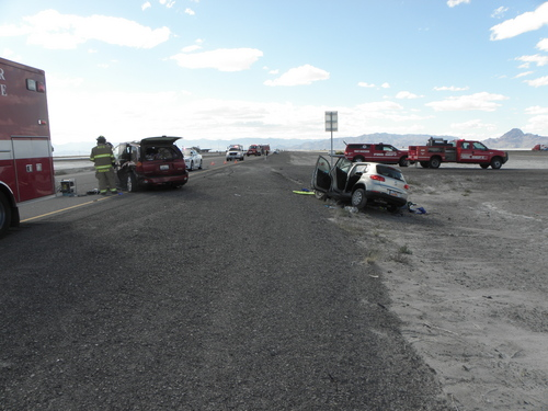 Courtesy Utah Highway Patrol Five people were hurt, two of them critically, after one SUV turned around on Interstate 80 in front of an another oncoming SUV near mile marker 10. The crash occurred about 3 p.m. Saturday.