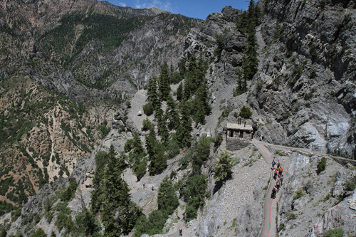 Francisco Kjolseth  |  The Salt Lake Tribune Visitors to Mount Timpanogos make the strenuous 1.5-mile hike that rises 1,092 feet to an elevation of 6,730 feet above sea level for a chance to explore the cave in the summer of 2012.