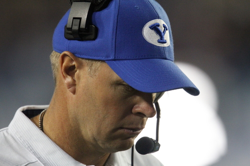 Rick Egan  | The Salt Lake Tribune   Brigham Young Cougars head coach Bronco Mendenhall on the sidelines near the end of the game, as BYU was trailing Utah 20-13, at Lavell Edwards Stadium, Saturday, September 21, 2013.