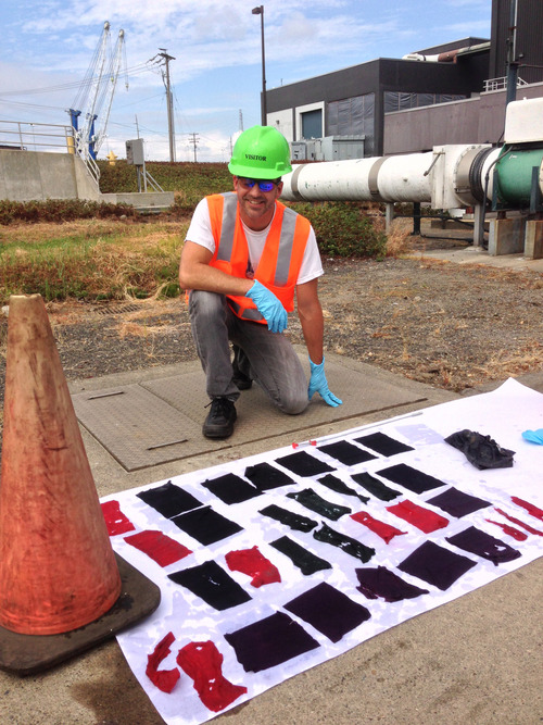 In this Aug. 16, 2013 photo provided by the City of Vancouver, Industrial Pretreatment Coordinator Frank Dick poses with flushable wipes that made it through a test to see if they would break down, at the Westside Wasterwater Treatment Plant in Vancouver, Wa. Various bathroom wipes were specially dyed and then sent through the sewer system, but instead of dissolving, most wound up intact. (AP Photo/ City of Vancouver)