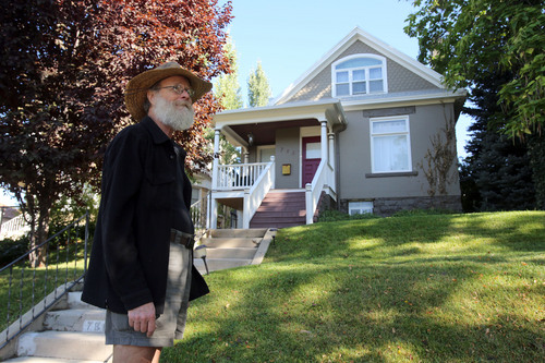 "Francisco Kjolseth  |  The Salt Lake Tribune Robert ""Tree Bob"" Brossard, 68, visits his childhood home in the Avenues just two doors down from Lindsey Gardens park where he lived from age 2 until he was 21."