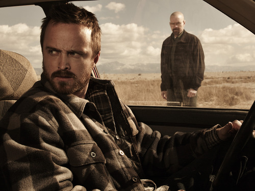 "Courtesy photo Aaron Paul as Jesse Pinkman and Bryan Cranston as Walter White in ""Breaking Bad."""