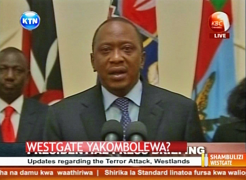 Kenyan President Uhuru Kenyatta appears in a televised address to the nation Tuesday Sept. 24, 2013, to declare Kenyan security forces have defeated a small group of terrorists after four days of fighting at the Westgate shopping mall in Nairobi.  In the televised address Kenyatta said the attack had left at least 240 casualties, including some 61 dead civilians and six of his security forces, with at least five terrorists killed and another 11 suspects taken into custody. Kenyatta declared three days of national mourning.(AP Photo / KTN TV) TV OUT - KENYA OUT