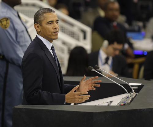 Seth Wenig  |  The Associated Press U.S. President Barack Obama speaks during the 68th session of the General Assembly at United Nations headquarters on Tuesday.