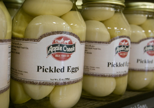 Rick Egan  | The Salt Lake Tribune   Pickled eggs at Apple Creek Bulk Foods, 875 N. Main, Willard, on Highway 89, Wednesday, September 4, 2013.