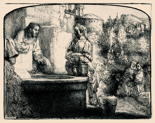 Christ and the Woman of Samaria: An Arched Print, by Rembrandt van Rijn.  Courtesy LDS Church History Museum