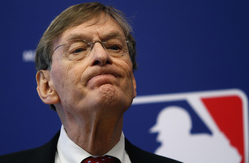 FILE - In this May 12, 2011, file photo, Major League Baseball Commissioner Bud Selig listens to a question during a news conference in New York. Selig said in a formal statement Thursday, Sept. 26, 2013, that he plans to retire in January 2015. (AP Photo/Bebeto Matthews, File)