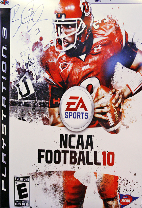 The cover of the playstation game. Brian Johnson, the University of Utah quarterback who led the Utes to a perfect 13-0 regular-season record and threw for 27 touchdowns, dreams of playing in the NFL. Johnson was signing autographs in conjunction with the new EA Sports college football game in which he's featured on the cover.  Photo by Leah Hogsten/ The Salt Lake Tribune WVC 7/14/09