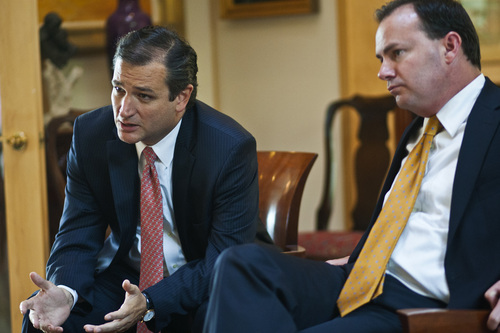 Chris Detrick  |  Tribune file photo Sens. Ted Cruz, R-Texas, and Senator Mike Lee, R-Utah, are taking heat from Democrats and Republicans as they continue to use every tactic possible to delay a Senate vote expected to restore funding to Obamacare.