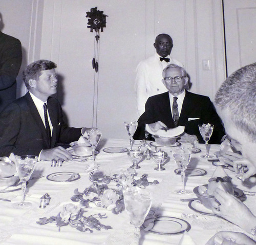 photo courtesy Utah State Historical Society  John F. Kennedy eats with LDS Church President David O. McKay during a visit to Salt Lake City on September 26, 1963.
