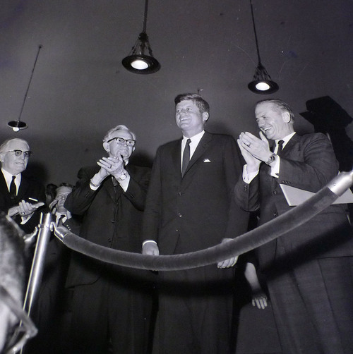 photo courtesy Utah State Historical Society  John F. Kennedy is seen with LDS Church President David O. McKay and Senator Frank E. Moss before speaking at the Tabernacle at Temple Square on September 26, 1963.