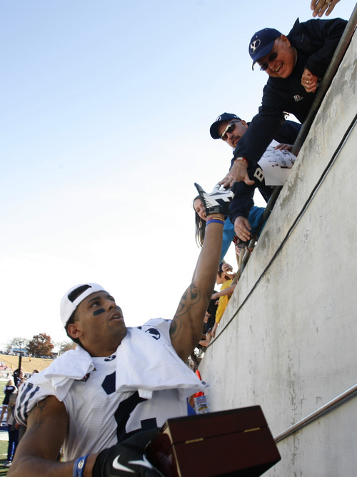 Rick Egan  | The Salt Lake Tribune   Cougar wide receiver Cody Hoffman (2)high-fives fans after BYU's 24-21 win over Tulsa in the Armed Forces Bowl, in Dallas, Texas, Friday, December 30, 2011