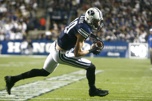 Chris Detrick  |  The Salt Lake Tribune Brigham Young Cougars wide receiver Mitch Mathews (10) runs the ball during the first half of the game at LaVell Edwards Stadium Friday September 27, 2013. BYU is winning the game 23-10 at halftime.