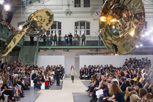 A model presents a creation as part of Chloe's ready-to-wear Spring/Summer 2014 fashion collection, presented Sunday, Sept. 29, 2013 in Paris. (AP Photo/Jacques Brinon)